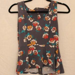 Lily White Floral Short-Sleeve Peplum Blouse Sz M